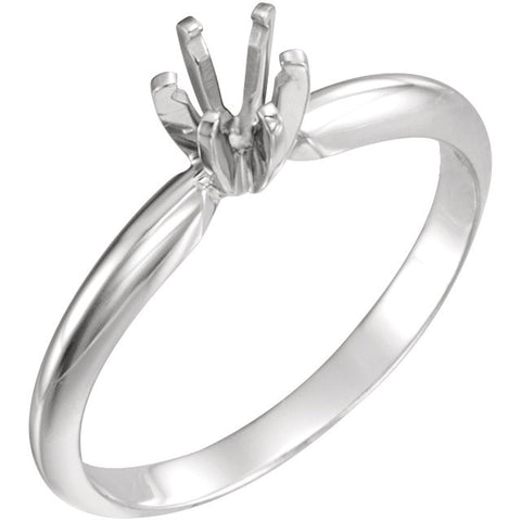 14k White Gold 4-4.1mm Round Pre-Notched 6-Prong Solitaire Ring Mounting, Size 6
