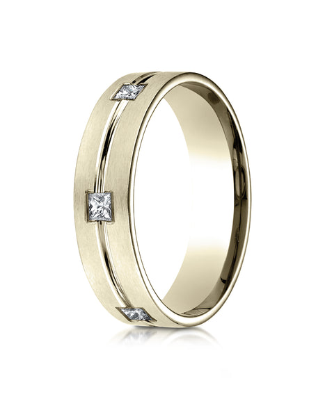 Benchmark 18K Yellow Gold 6mm Comfort-Fit Princess Cut Burnish Set 6-Stone Eternity Wedding Band(0.60ct)