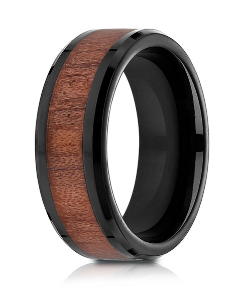 Benchmark Blackened Cobaltchrome 8mm Comfort-Fit Drop Beveled Rosewood Inlay Cobalt Ring, (Sizes 6-14)