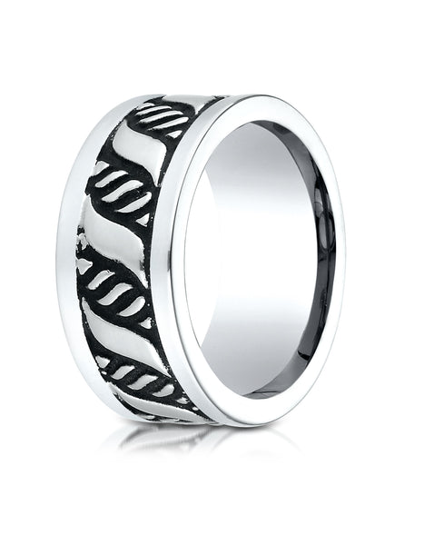 Benchmark Cobaltchrome 10mm Comfort-Fit Blackened Pattern Wedding Band Ring, (Sizes 6 - 14)