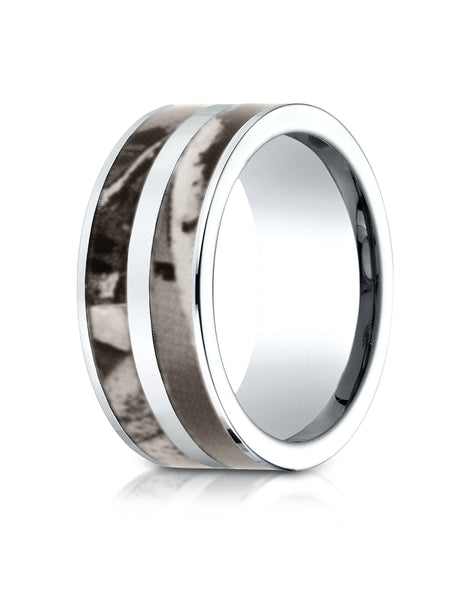 Benchmark Cobaltchrome 10mm Comfort-Fit Wedding Band Ring with Hunting Camo Inlay, (Sizes 6 - 14)