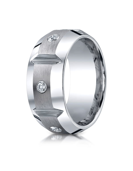 Benchmark Cobaltchrome 10mm Comfort-Fit 3-Stone Diamond Design Wedding Band Ring (0.20 cttw)