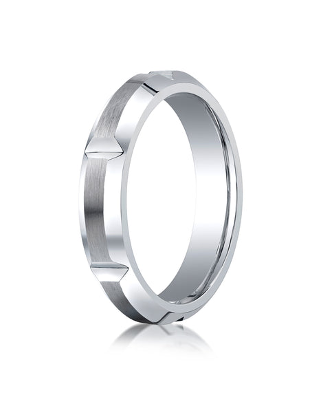 Benchmark Cobaltchrome  Comfort-Fit with High Polished Grooves & Beveled Edge Design Wedding Band Ring