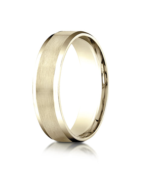 Benchmark 10K Yellow Gold 6mm Comfort-Fit Satin-Finish w/  High Polished Beveled Edge Carved Design Ring
