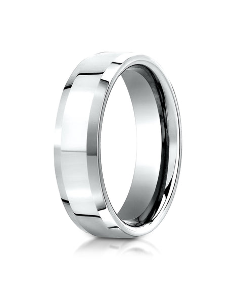 Benchmark 10K White Gold 6mm Comfort-Fit High Polished Carved Design Wedding Band Ring (Sizes 4 - 15 )