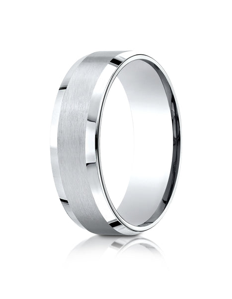 Benchmark Palladium 7mm Comfort-Fit Satin-Finished w/ High Polish Beveled Edge Carved Design Band, (4-15)