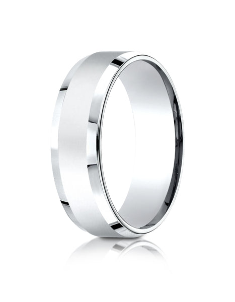 Benchmark Platinum 7mm Comfort-Fit High Polished Carved Design Band, (Sizes 4-15)