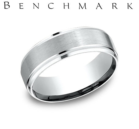 Benchmark Platinum 7mm Comfort-Fit Satin-Finished Drop Beveled Edge Carved Design Wedding Band Ring
