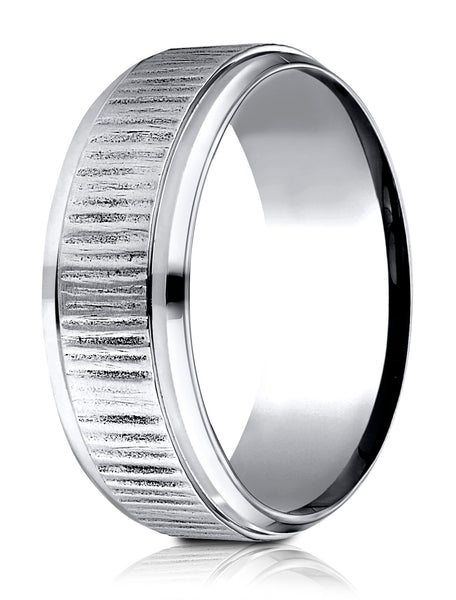 Benchmark Cobaltchrome 8 mm Comfort-Fit Horizonal Bark Pattern Design Ring, (Sizes 6-14)