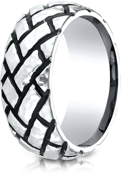 Benchmark Cobaltchrome 9mm Comfort-Fit Wedding Band Ring with Blackened Tread Pattern, (Sizes 6 - 14)