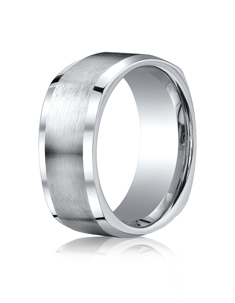 Benchmark Cobaltchrome 9mm Comfort-Fit Satin-Finished Four-Sided Design Wedding Band Ring