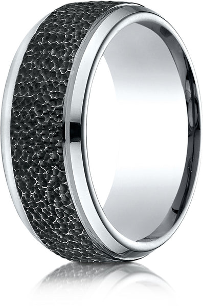 Benchmark Cobaltchrome 9mm Comfort-Fit Black Micro-Hammered Wedding Band Ring, (Sizes 6 - 14)