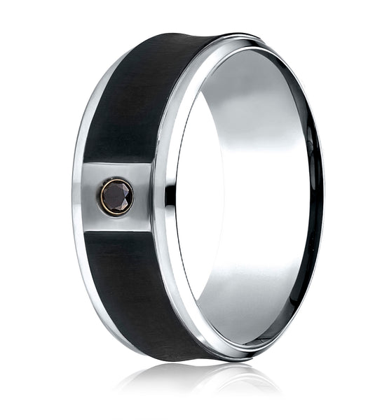 Benchmark Cobaltchrome 9 mm Comfort-Fit Blackened Concave Diamond Ring (0.06Ct.), (Sizes 6-14)
