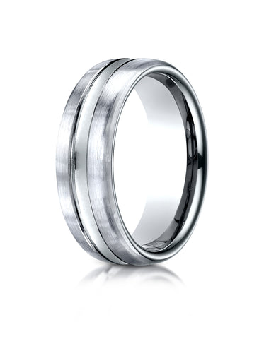 Benchmark Palladium 7.5mm Comfort-Fit Satin-Finished High Polished Center Cut Carved Design Wedding Band