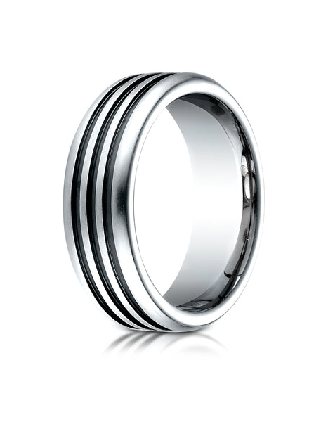 Benchmark Cobaltchrome 7.5mm Comfort-Fit 3 Black Channel Design Wedding Band Ring, (Sizes 6 - 14)