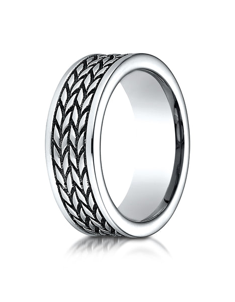 Benchmark Cobaltchrome 8 mm Comfort-Fit Ring with treaded pattern, (Sizes 6-14)
