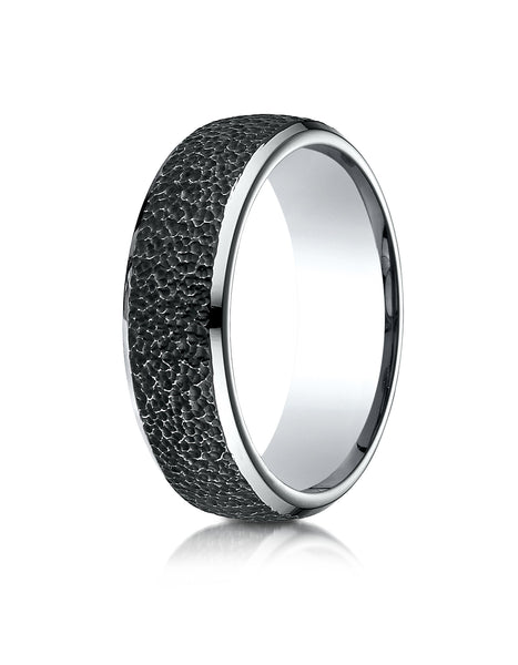 Benchmark Cobaltchrome 7.5mm Comfort-Fit with Black Micro Hammer Finish and High Polish Edges Design band