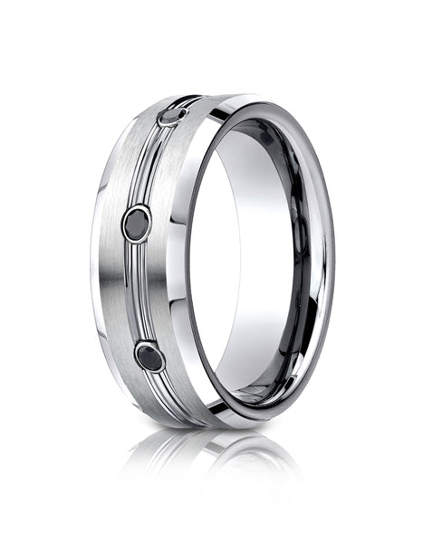 Benchmark Cobaltchrome 7.5mm Comfort-Fit 3-Stone Black Diamond Design Wedding Band Ring (0.20 cttw)