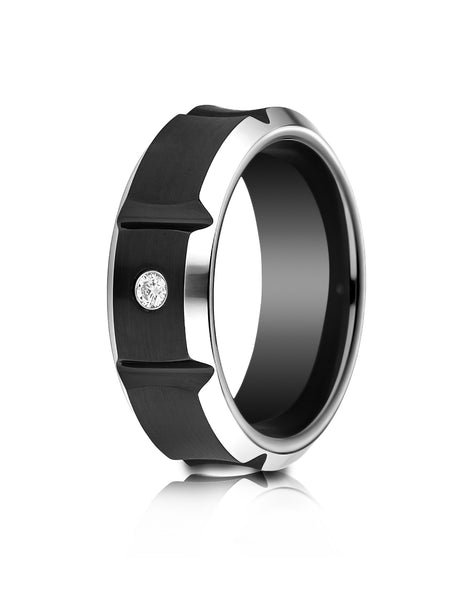 Benchmark Blackened Cobaltchrome 8mm Comfort-Fit Beveled Edge Concave Satin Center Diamond Ring (0.06Ct)