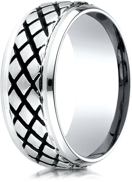 Benchmark Cobaltchrome 9mm Comfort-Fit Blackened Cross Hatch Wedding Band Ring, (Sizes 6 - 14)
