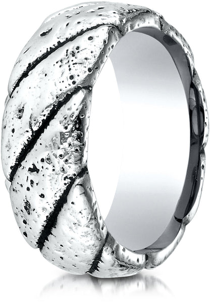 Benchmark Cobaltchrome 9mm Comfort-Fit Blackened Rustic Wedding Band Ring, (Sizes 6 - 14)