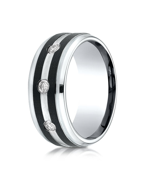 Benchmark Cobaltchrome 9mm Comfort-Fit Diamond Wedding Band Ring with Double Graphite Inlay (0.20 cttw)