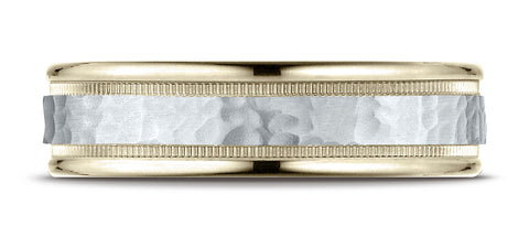 Benchmark-14K-Two-Toned-Gold-6mm-Comfort-Fit-Hammered-Finished-with-Milgrain-Carved-Design-Band--Size-6.25--CF15630814KWY06.25