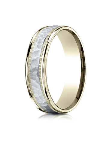 Benchmark 14K Two-Toned Gold 6mm Comfort-Fit Hammered-Finished with Milgrain Carved Design Wedding Band