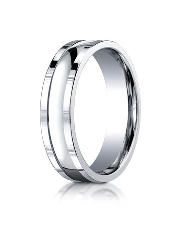 Benchmark 14K White Gold 6mm Comfort-Fit High Polished Squared Edge Carved Design Wedding Band Ring