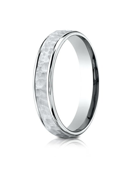 Benchmark 18k White Gold Comfort Fit 4mm High Polish Edge Hammered Center Design Band, (Size 6-13)