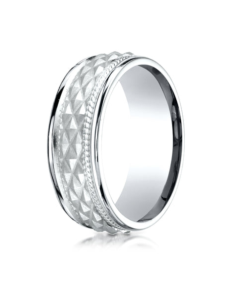 Benchmark 14K White Gold 8mm Comfort-Fit Round Edge Cross Hatch Patterned Wedding Band Ring