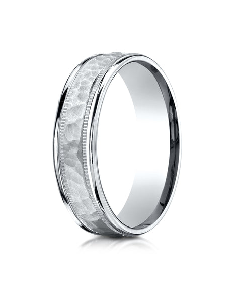 Benchmark 10k White Gold 6mm Comfort-Fit Hammered Center High Polish Round Edge Carved Design Band ( 6-13)