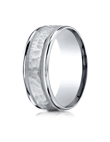 Benchmark 18K White Gold 8mm Comfort-Fit High Polished Squared Edge Carved Design Wedding Band Ring