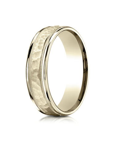 Benchmark 18K Yellow Gold 6mm Comfort-Fit High Polished Squared Edge Carved Design Wedding Band Ring