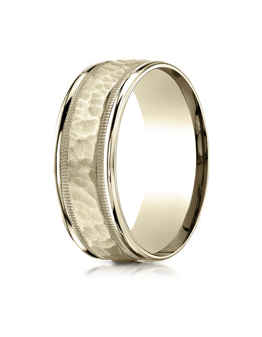 Benchmark 14K Yellow Gold 8mm Comfort-Fit High Polished Squared Edge Carved Design Wedding Band Ring