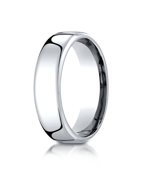 Benchmark 10K White Gold 6.5mm European Comfort-Fit Wedding Band Ring (Sizes 4 - 14 )