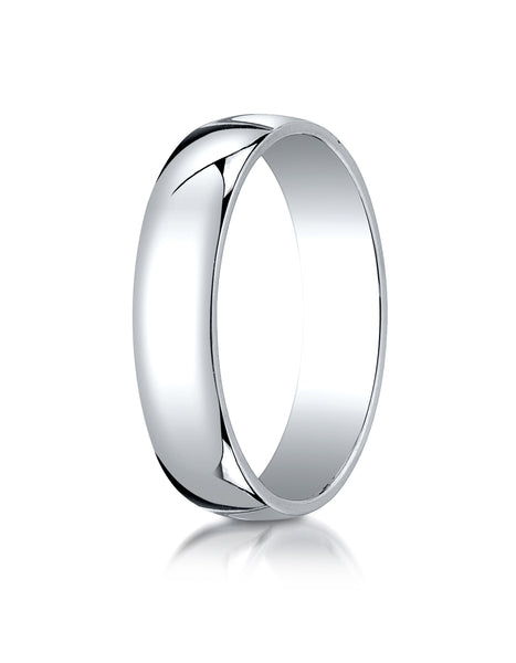 Benchmark 14K White Gold 5mm Low Dome Light Wedding Band Ring (Sizes 4 - 15 )