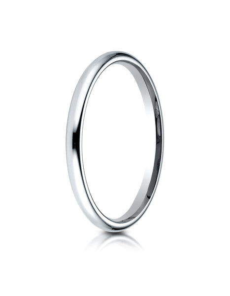 Benchmark 14K White Gold 2mm Slightly Domed Standard Comfort-Fit Wedding Band Ring (Sizes 4 - 15 )