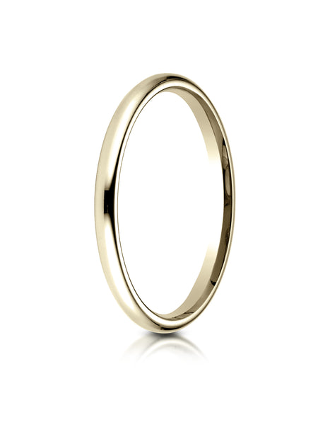 Benchmark 14K Yellow Gold 2mm Slightly Domed Standard Comfort-Fit Wedding Band Ring (Sizes 4 - 15 )