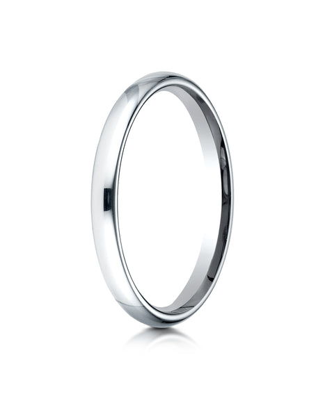 Benchmark 14K White Gold 2.5mm Slightly Domed Standard Comfort-Fit Wedding Band Ring (Sizes 4 - 15 )