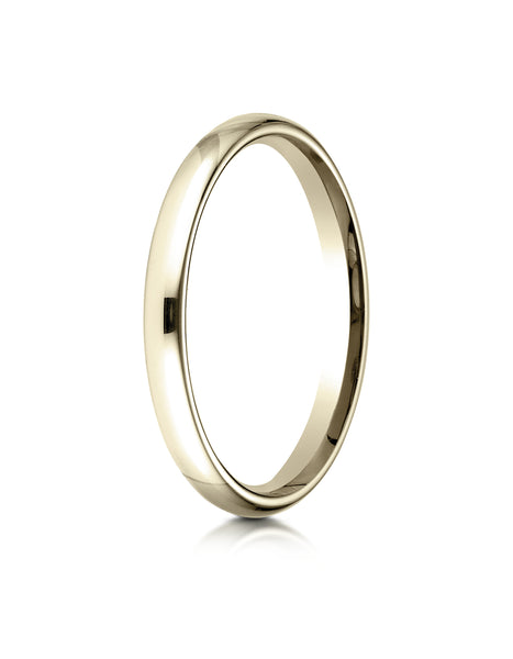 Benchmark 14K Yellow Gold 2.5mm Slightly Domed Standard Comfort-Fit Wedding Band Ring (Sizes 4 - 15 )