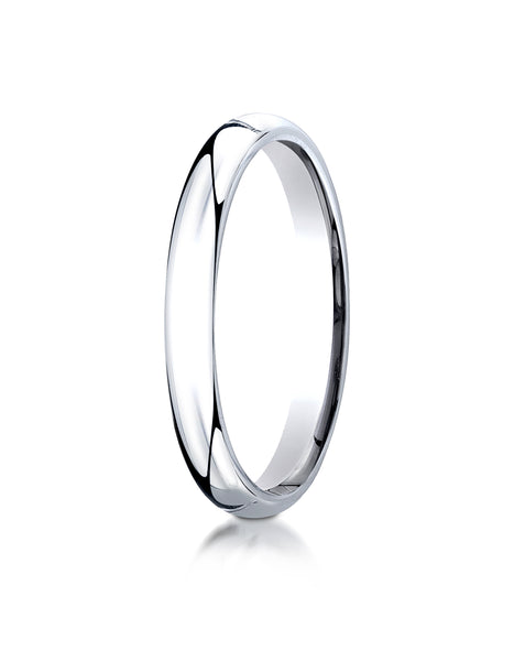 Benchmark 10K White Gold 3mm Slightly Domed Standard Comfort-Fit Wedding Band Ring (Sizes 4 - 15 )