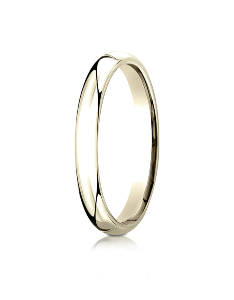 Benchmark 10K Yellow Gold 3mm Slightly Domed Standard Comfort-Fit Wedding Band Ring (Sizes 4 - 15 )
