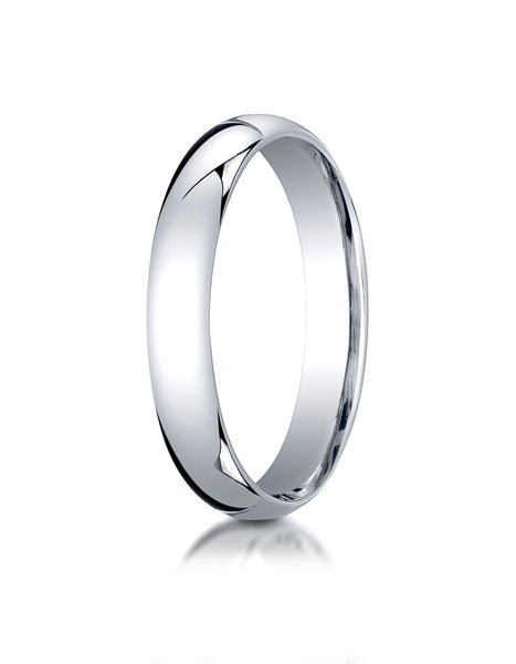 Benchmark 10K White Gold 4mm Slightly Domed Standard Comfort-Fit Wedding Band Ring (Sizes 4 - 15 )