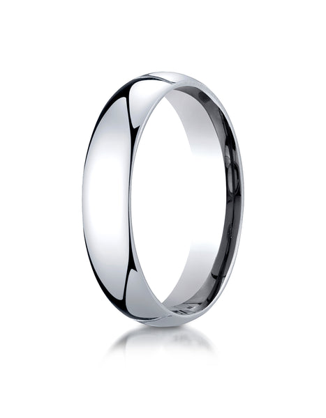Benchmark 10K White Gold 5mm Slightly Domed Standard Comfort-Fit Wedding Band Ring (Sizes 4 - 15 )