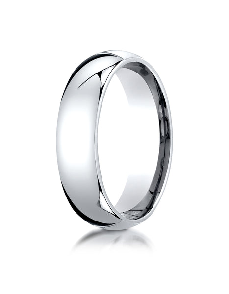 Benchmark Platinum 6mm Slightly Domed Standard Comfort-Fit Wedding Band Ring (Sizes 4 - 15 )