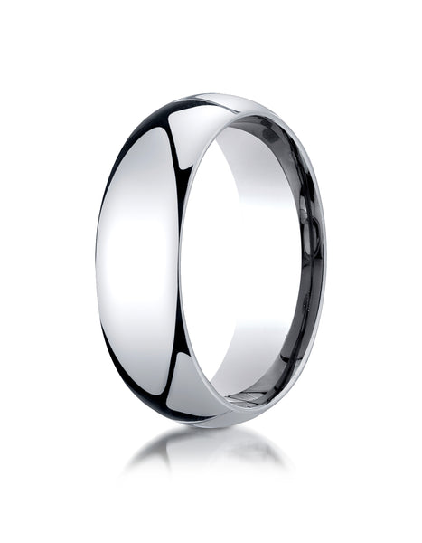 Benchmark Palladium 7mm Slightly Domed Standard Comfort-Fit Wedding Band Ring (Sizes 4 - 15 )