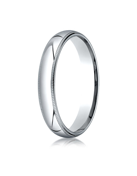 Benchmark 10K White Gold 4mm Slightly Domed Standard Comfort-Fit Wedding Band Ring with Milgrain