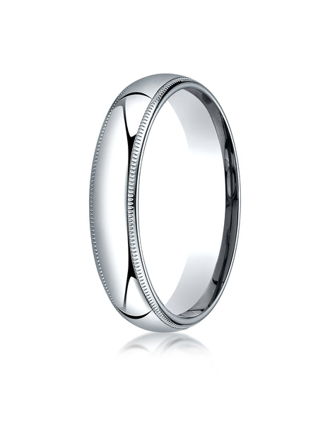 Benchmark 10K White Gold 5mm Slightly Domed Standard Comfort-Fit Wedding Band Ring with Milgrain