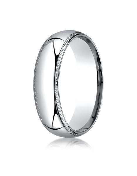 Benchmark Palladium 6mm Slightly Domed Standard Comfort-Fit Wedding Band Ring with Milgrain